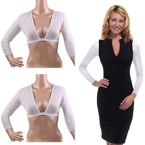 Women's Plus Size Seamless Arm Shaper Basic 3/4 Length Slip-on Mesh Sleeves Short Cropped Navel Mesh Cardigan Hot (White, XXL) ()