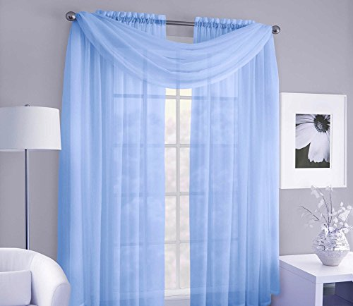 GorgeousHomeLinen Versatile Multi Use 3pc Set 2 Voile Sheer Panels + 1 Valance Scarf Topper Window Curtain 100% Matching in Many Solid Colors (84