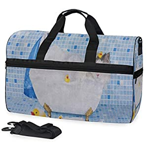 Duffle Bag Funny Cat Kitten Yellow Duck Gym Bag with Shoe Compartment Sport Bag for Men Women