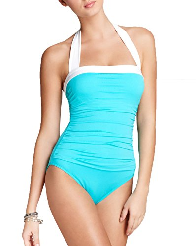 Lauren by Ralph Lauren Women's Tummy-Control Ruched Halter One-Piece Swimsuit (8, - Ralph Lauren Outlet Womens
