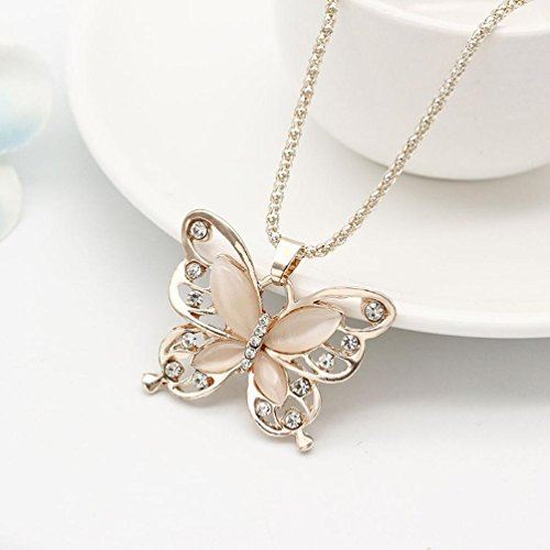 Necklace,ZYooh Mother's Day Vintage Opal Butterfly Pendant Necklace Long Sweater Chain Crystal Necklace Romantic Jewelry Gift by iLH (Image #4)