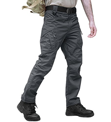 TACVASEN Casual Quick Dry Tactical Ripstop Utility Sports Cargo Trouser Pants (Gray Lightweight Tactical Pants)