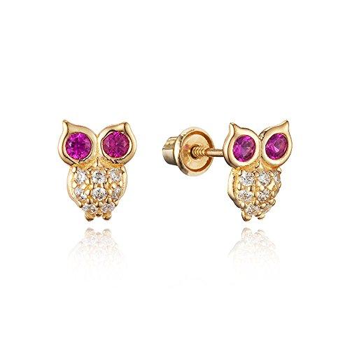14k Yellow Gold Owl Cubic Zirconia Children Screwback Baby Girls Stud Earrings 14k Yellow Gold Owl
