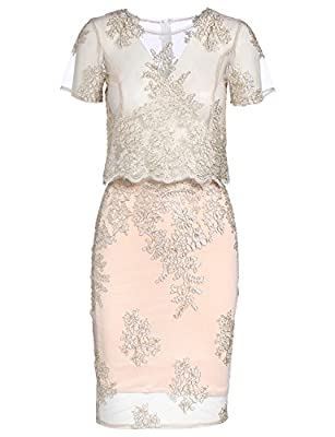 JeVenis Women's Embroidered Dress Lace Cocktail Dress Crystal Sequin Embellished Fringed Dress