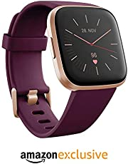 Fitbit Versa 2 Health & Fitness Smartwatch with Voice Control, Sleep Score & Music, Bordeaux, with Alexa built-in [ Exclusive to Amazon ]