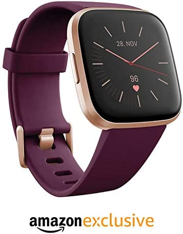Fitbit Versa 2 Health & Fitness Smartwatch with Voice Control, Sleep Score & Music, Bordeaux