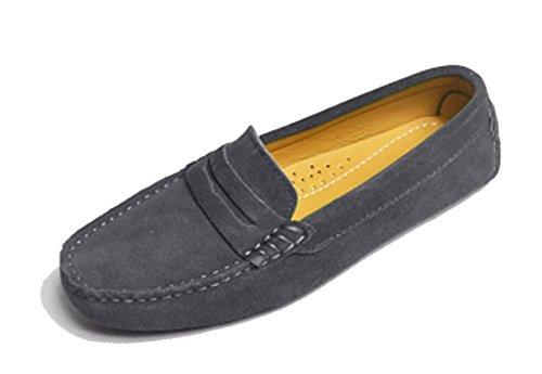 LL STUDIO Womens Casual Slip On Flats Dark Grey Seude/Leather Driving Walking Moccasins Loafers Boat Shoes 8 M US -  LL STUDIO-YIBU9603-Dark Grey2-Suede39