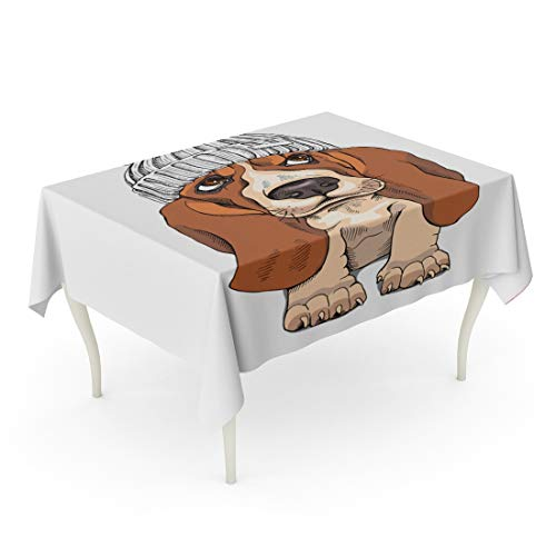 Tarolo Rectangle Tablecloth 60 x 102 Inch Brown Drawn Puppy Basset Hound in Knitted Cap Pompom Hand Winter Wool Accessory Adorable Table Cloth