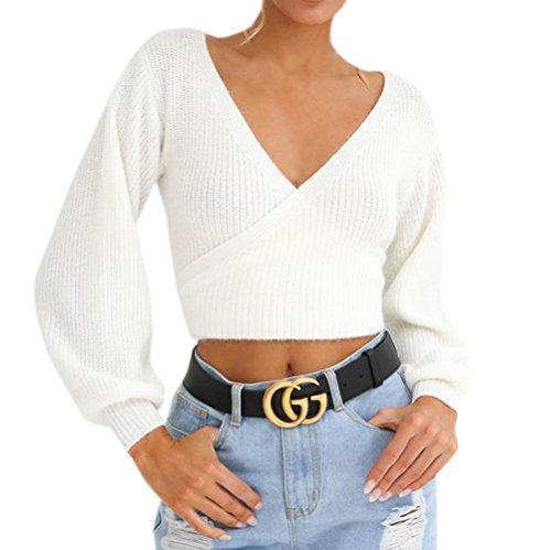 OUFour Primavera e Autunno Corto Maglieria Donna Moda V Collo Sweater a Manica Lunga Bluse Pullover Tinta Unita Maglione Jumper Tops Bianca