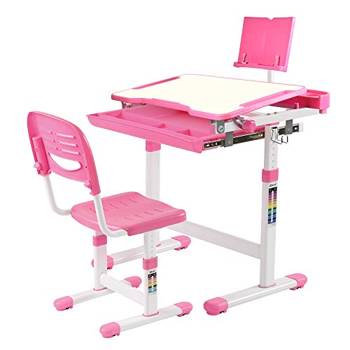 Drawer Table Work (IDEER LIFE Children's Desk and Chair Set, Height Adjustable Kids Student School Study Desk Table Work Station with Drawer Storage, Tilting Desktop &Bookstand for Children,Kids,Boys&Girls (Pink 04001))