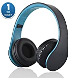 ACID EYE Bluetooth Headphones Over-ear Stereo Wireless + Wired Headsets with Microphone for Music Streaming,Hands-free Calling For iPhone,Nokia,HTC,Samsung,LG,Moto,iPad,PSP and enabled Bluetooth(Blue)