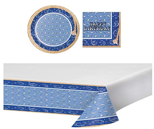 Blue Bandana Cowboy Birthday Party Bundle for 16: Large Plates, Luncheon Napkins and Table Cloth