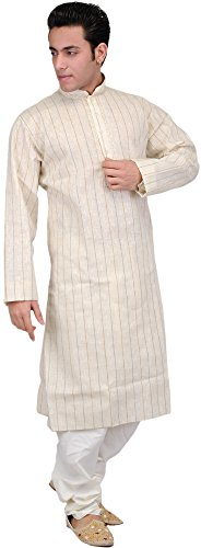 Cheap Exotic India Antique-White Kurta Pajama Set - Off-White hot sale