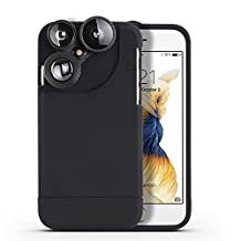 iPhone lenses cases Haldissim 4 in 1 iPhone 6/6s Lens Case Camera Lens Kit,Fish Eye Lens, Macro Lens, Wide Angle Lens and Telephoto Lens Case for 4.7 inch Iphone 6/6s (i6-black)
