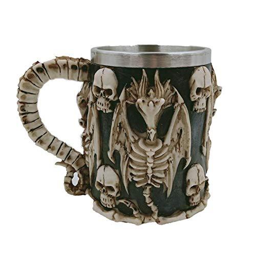 - Aolvo Medieval Mug, Stainless Steel Skeleton Dragon Viking Pirate Gothic Skull Mug Tankard Cup, Cool Medieval Skeleton Tankard Stein for Beer Wine Coffee Rum Drinking Water - 450 Ml(15 Oz)