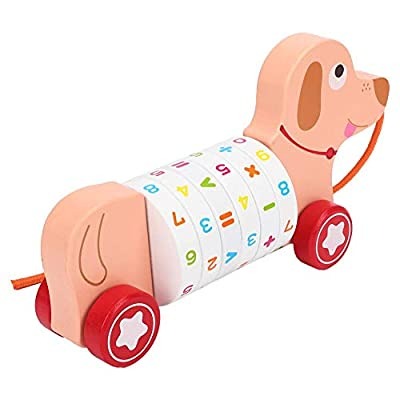 Wooden Pull Toy, Infant Cartoon Animal Wooden Pull Car Toy Math Learning Children Early Educational Toys(Puppy Tow cart): Home & Kitchen