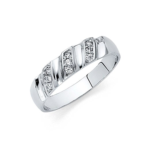 14k White Gold SOLID Men's Wedding Band - Size 9 by TWJC