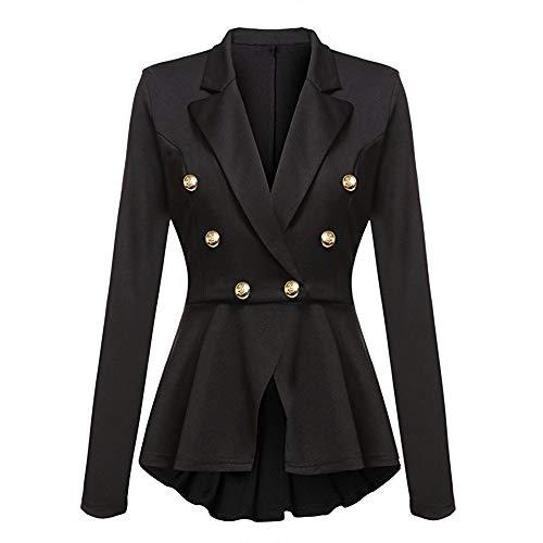 Peplum Outwear Donna Moda A Coat Alla Con Blazer Nero Jacket Maniche Lunghe Arricciature Da Casual Button Giacca qCvwZZ