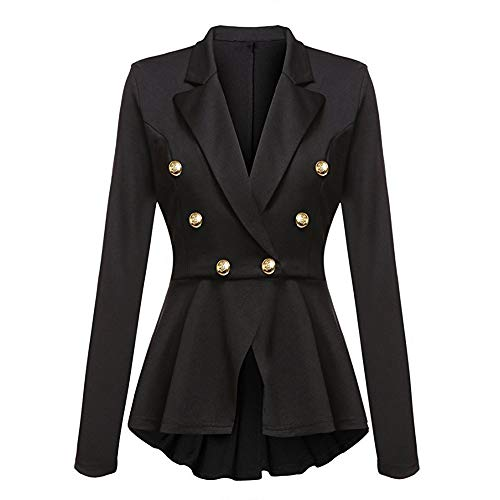 Alla Lunghe Outwear Coat Nero Maniche Peplum Casual Giacca Arricciature Jacket Blazer Con Da A Donna Moda Button qxZS6E0