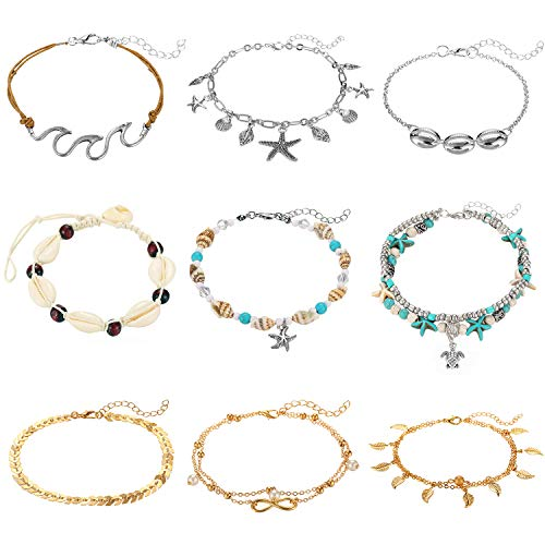 SHIWE 9PCS Anklets for Women Girls Starfish Turtle Elephant Shells Charm Boho Ankle Bracelets Gold Silver Plated Summer Foot Jewelry Set ...