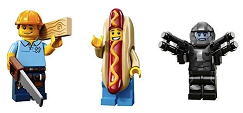 Lego Guy Costumes (Carpenter, Hot Dog Man, Space Galaxy Trooper: Lego Collectible Minifigures Series 13 Custom Bundle 71008)