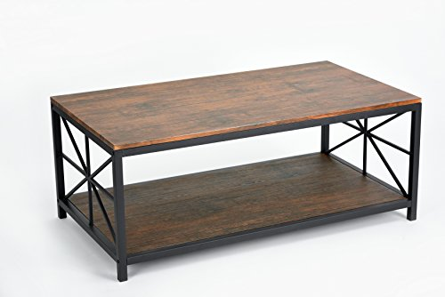 Dark Coffee Finish Black Metal Frame Cocktail Coffee Table with Lower Shelf