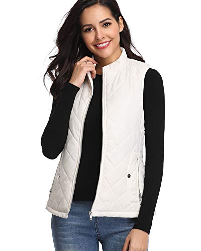 fuinloth Women's Padded Vest, Stand Collar Lightweight Zip Quilted Gilet White M (Sweater Jacket Collar)