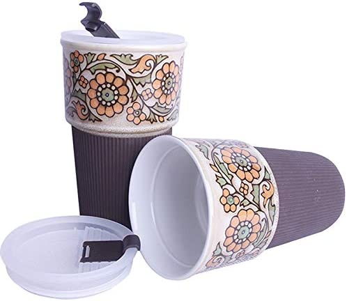 Novelty Gift Lid /& Sleeve Travel Coffee Cup,Thermal Silicone Insulated Tea Mug