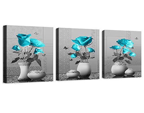 Wall Decor for Bedroom Prints of Decor for Living Room Rose Flowers Blue Canvas Wall Art Decor 3 Pieces Framed Canvas Prints Watercolor Giclee with Black Border Ready to Hang for Home Decoration