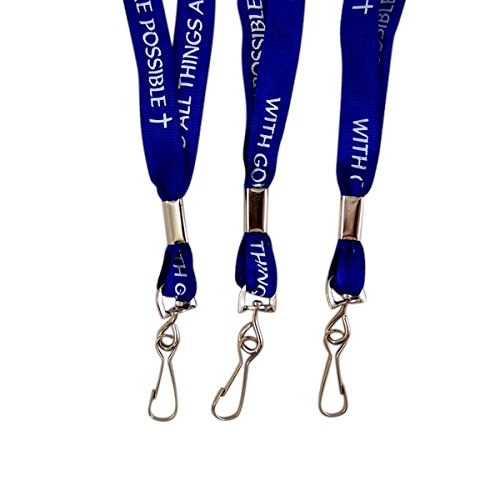Inspirational Lanyard with God All Things are Possible, 34 Inch, 3 Pack ()