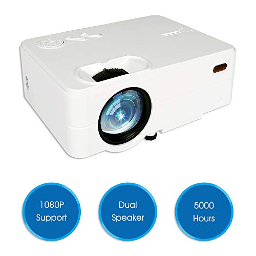 Mini Projector, Hd Projector 1080P 4K, Home Movie Projector, Phone Projector, 2019 Upgraded, Suitable Pc/MacBook/Xbox/Smartphone, 2800 Lumen, Play Movies Games,Home Entertainment