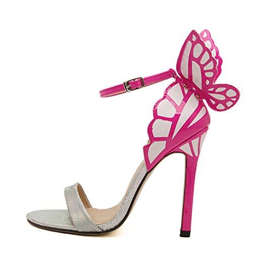Women Sandals, ❤️ FAPIZI Summer Open Toe High Block Heel Sandals Butterfly Party Wedding Prom Sandals Shoes Silver