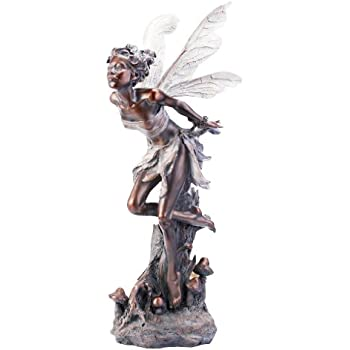 Superb Napco Bronze Kissing Fairy Garden Statue, 34 Inch Tall