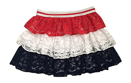 Toddler Girls Patriotic Skirt 3-Tier Lace 3T Multicoloured