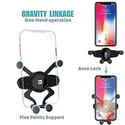 InnKoo Car Phone Mount, Air Vent Cell Phone Holder Cradle for Car Gravity Adjustable, Compatible with iPhone 11 Pro 11 Max Xs Xr X 8 7 6 5 Plus Samsung Galaxy S10+ S10e S9 Google Pixel (Black)