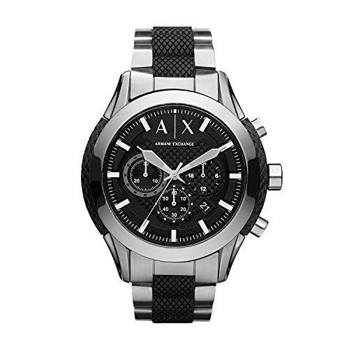 Armani Exchange Men's Black Silicone and Stainless Steel Watch AX1214 (Armani Exchange Black Steel Watch)