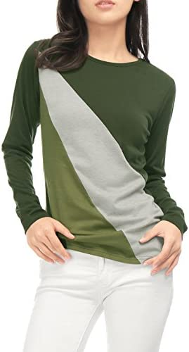 KLJR Womens Long Sleeve Solid-Colored T-Shirt V-Neck Casual Pure Color Wrap Blouses Tops Color Front