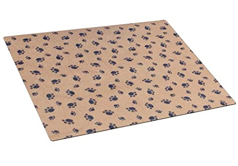 Drymate Cat Litter Box Mat with Paw Imprint Design, 20-Inch by 28-Inch, Tan - Flush Litter Box