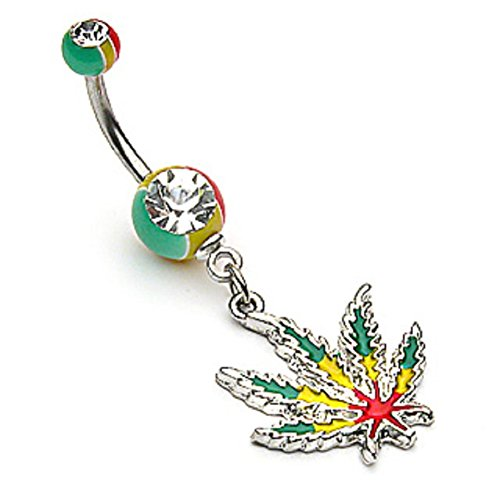 Jamaican Pot Leaf (Rasta) with Jamaican Gem Ball Ends Dangle Navel Belly Ring (316L) Surgical Steel 14g (1.6mm) Nickle Free (surgical steel)