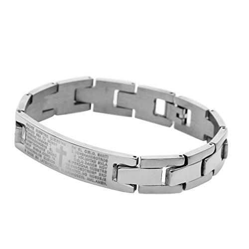 Bracelet Gourmette en Acier Inoxydable Motif de Croix Pour Homme - Argent