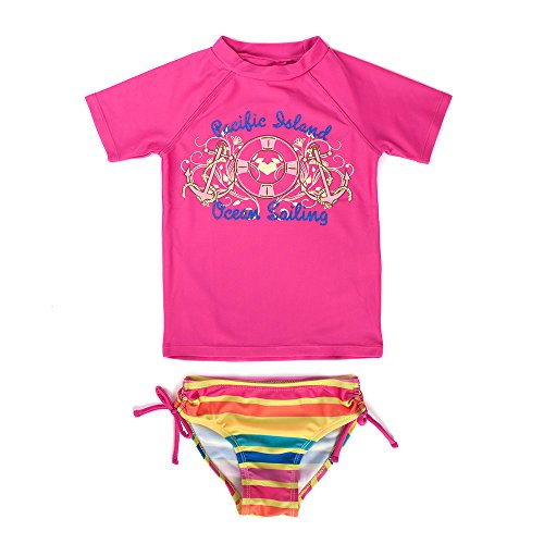 Price comparison product image Baby Girls Short Sleeve Rash Guard Set Swimwear with Bikini Bottom Fuschia 5T