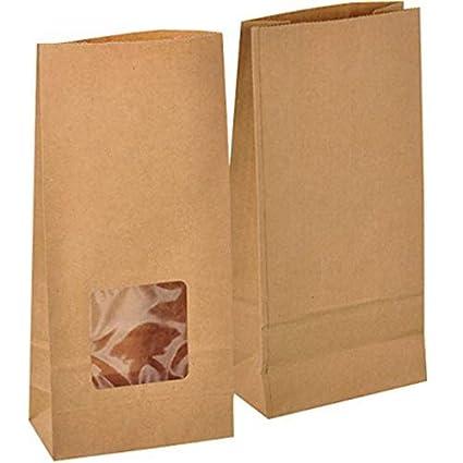 50 piezas Bolsas de Papel con ventana Regalo 12 x 6 x 25 cm - Bolsa Biodegradable Regalos Comunión para Invitados o para Guardar Comida, Semillas ...