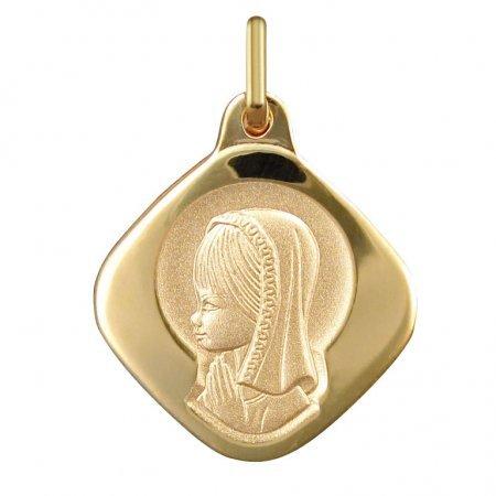 VIERGE MARIE AURÉOLÉE - Médaille Religieuse - Or 18 carat - Hauteur: 20 mm - www.diamants-perles.com