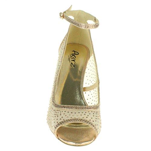 Frau Damen Mesh Diamante Peeptoe Abend Braut Hochzeit Party Prom Hoch Absatz Sandalen Schuhe Größe Champagne.