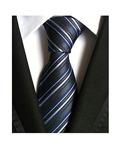 Men's Classic Stripe Tie Jacquard Woven Silk Tie Formal Party Suit Necktie + Gift Box (Necktie Silk Chain)