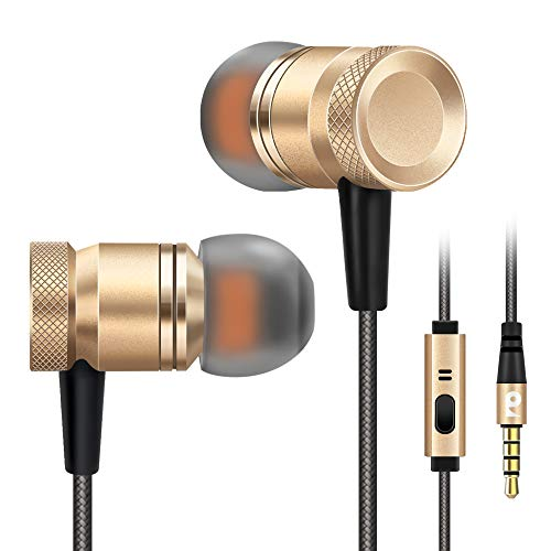 Rythsans Wired Noise Cancelling Earbuds Headphones with Microphone Mic Wired Sound Isolating Metal in Ear Earbuds Headphones Headset Workout Lightweight Headphones Earphones for iPhone 6(Gold)