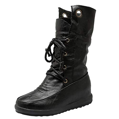 Seaintheson High Boots for Women, Women's Warm Round Toe Lace up Combat Booties Casual Cross-Straps Plush Shoes Black