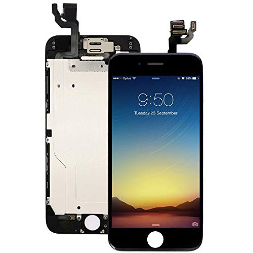 (Pre-Assembled Screen Replacement for iPhone 6 Black, LCD Display and Touch Screen Digitizer Replacement for A1549, A1586, A1589 w/Facing Proximity Sensor, Ear Speaker, Front Camera and Repair Tools)