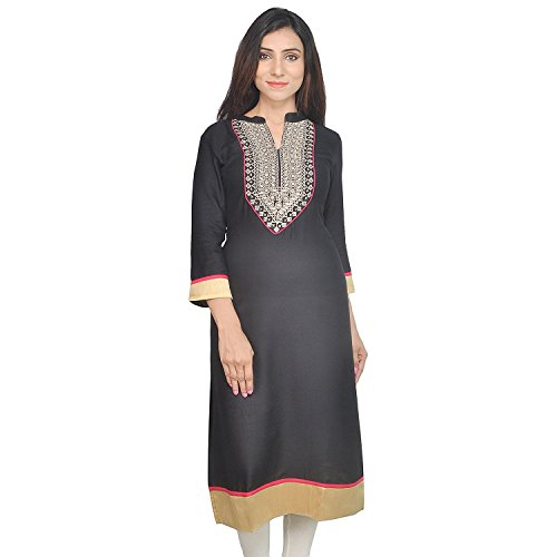 Chichi Women's Casual Solid Cotton Kurti Multi-Coloured(Women's Day Special),Large,Dark-blue by CHI