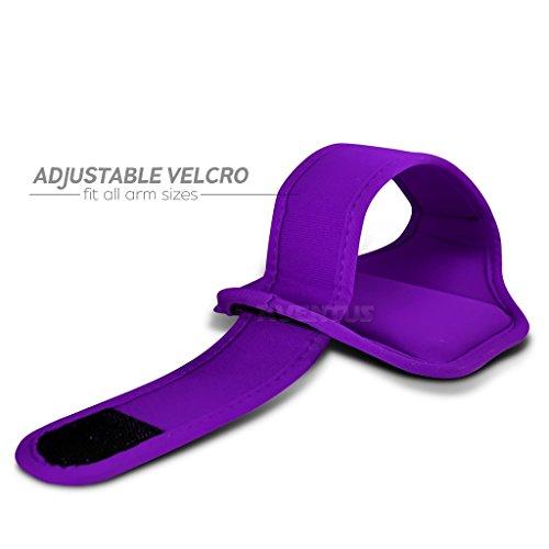 Aventus Alcatel Pop 4 (Baby Blau) Voll einstellbare Leicht Hulle Armband-Halter-Kasten-Abdeckung Running, Walking, Radfahren, Fitnessraum und andere Sportarten Lila